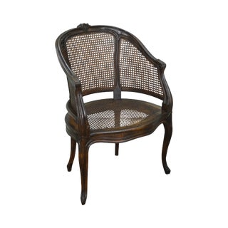 French Louis XV Style Barrel Back Caned Bergere Chair