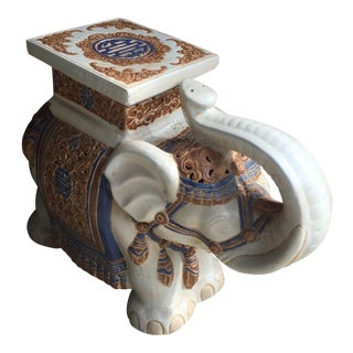 Chinoiserie Ceramic Elephant Garden Stool