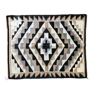 Vintage Navajo Geometric Flat Weave Wool Rug - 3′ × 3′10″