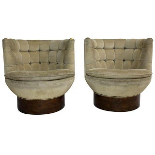 Milo Baughman Swivel Barrel Club Chairs - Pair