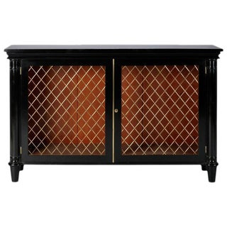 Ebonised English Sideboard or Cabinet with Brass Grills