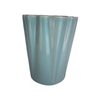 Mid-Century Aqua Pottery Ruffled Vase