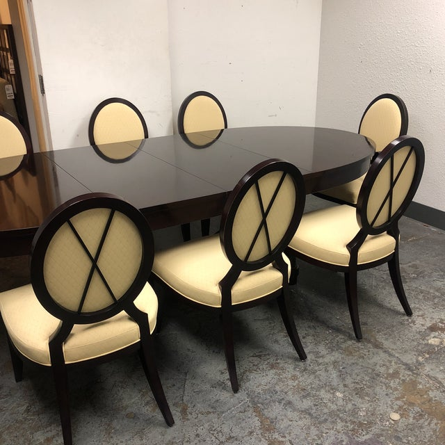 Barbara Barry Oval Dining Table & 8 Chairs for Baker - Set of 9 - Image 5 of 8