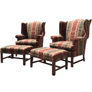 Hickory Furniture Wingback & Ottoman Sets - Pair