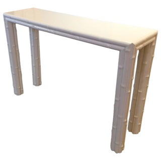 White Laquer Bamboo Console Table