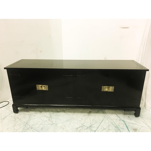 Asian Style Black Lacquered Credenza - Image 4 of 7