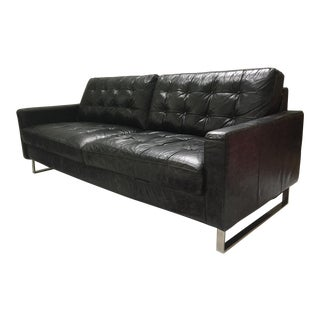 Mid Century Black Leather and Chrome Tufted Sofa After Milo Baughman