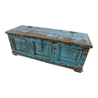 Antique Blue Storage Trunk