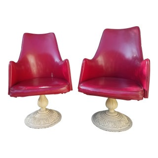 Red Swivel Garden Chairs - A Pair