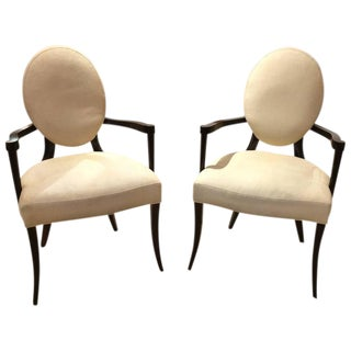 Super Chic Pair of Barbara Barry Mahogany and Upholstered Armchairs