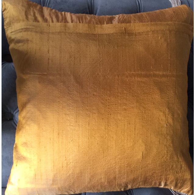 Copper Silk Embroidered Accent Pillow Cover - Image 4 of 5