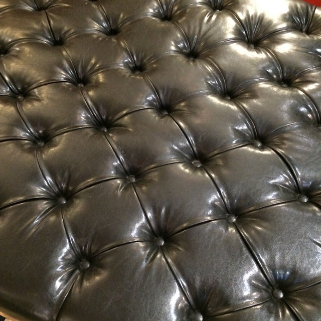 Button Tufted Black Faux Leather Ottoman - Image 3 of 5