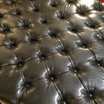 Image of Button Tufted Black Faux Leather Ottoman
