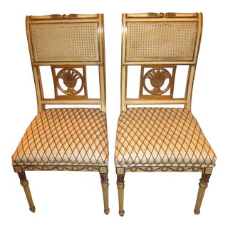 Hollywood Regency Carved Wood, Upholstered Seat, Gold and Antique White Chairs - a Pair