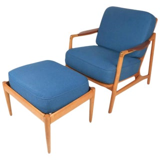 France & Daverkosen Mid-Century Lounge Chair & Ottoman