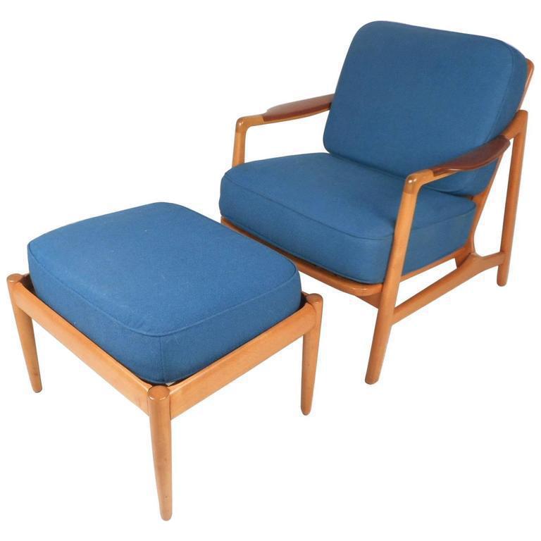 france u0026 daverkosen midcentury lounge chair u0026 ottoman