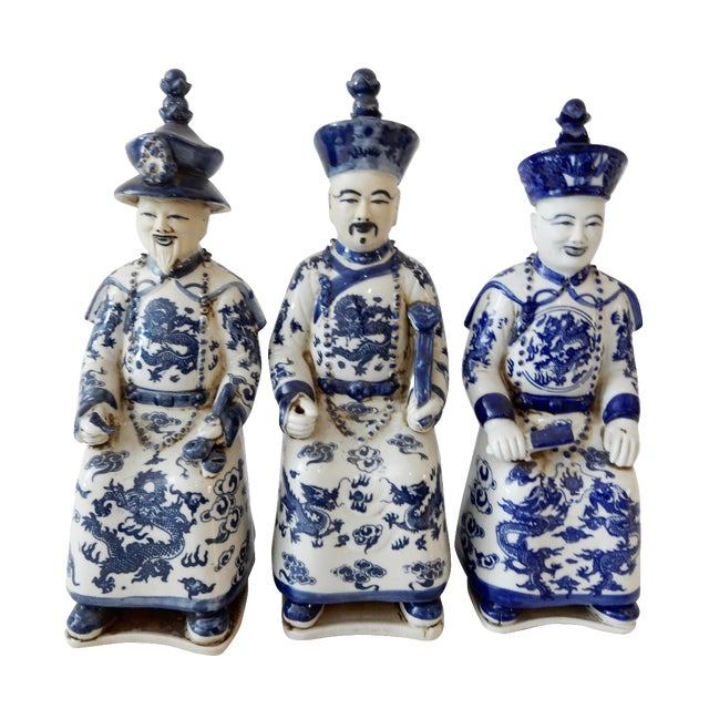 Blue and White Emperors Figures - Set of 3 - Image 1 of 6