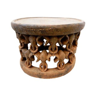African Elephant Bamileke Table Stool