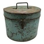 Image of Vintage Painted Metal Oval Hat Box