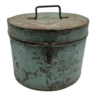 Vintage Painted Metal Oval Hat Box