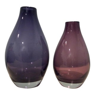 Crate & Barrel Purple Amethyst Como Vases - A Pair