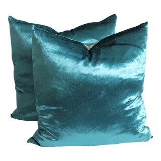 Contemporary Velvet Pillows - A Pair
