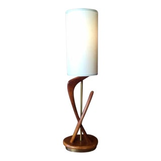 Mid-Century Walnut Brass Lamp by Modeline