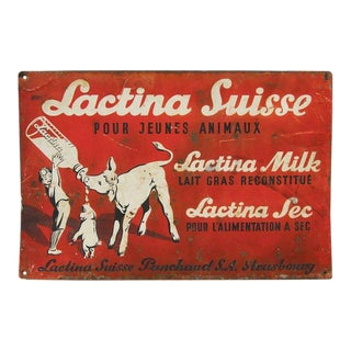 Antique French Swiss Cow's Milk Advertising Sign