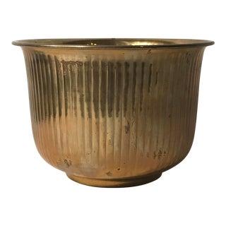 Fluted Brass Flared Rim Planter Pot