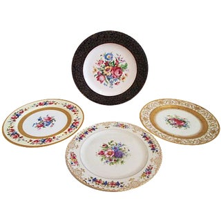 European Gilded Dinner Plates - Set of 4
