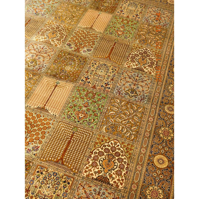 """Image of Hand Knotted Pure Silk Persian Qom Rug - 4'10"""" x 4'10"""""""