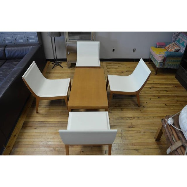White Italian Leather Chairs & Maple Coffee Table - Set of 5 - Image 3 of 10