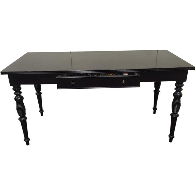 Image of Wooden Italian Table With Turned Legs and Drawer