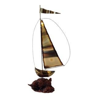Brutalist Brass Sailboat on Burl Wood Sculpture
