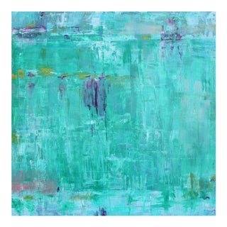 """Paul Ashby """"Watery Blues"""" Original Abstract Oil Painting"""