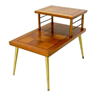 Mid-Century Danish Modern Lane Parquetry Top End Table with Brass Legs