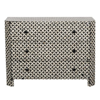 Bone Inlay 4 Drawer Lattice Basketweave Geometric Dresser