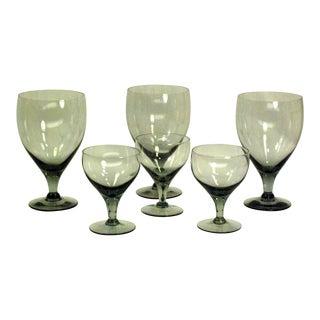 Mid-Century Smoke Grey Barware Glasses - Set of 6