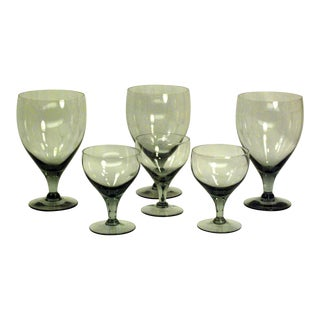 Mid-Century Smoke Grey Barware Glasses - 6