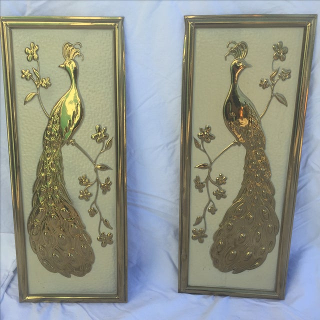 Image of Vintage Gold Peacock Wall Hanging- Right Facing