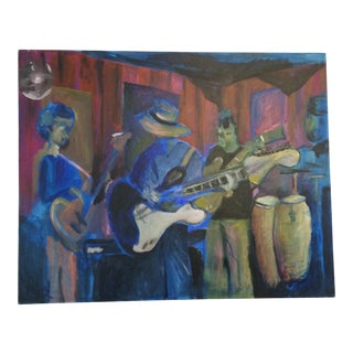 Vintage Jazz Scene Painting on Canvas by Dray