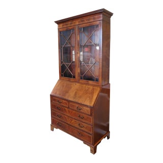 English Georgian 1990s Reproduction Inlaid & Banded Mahogany 2 Part Secretary Slant Top Desk