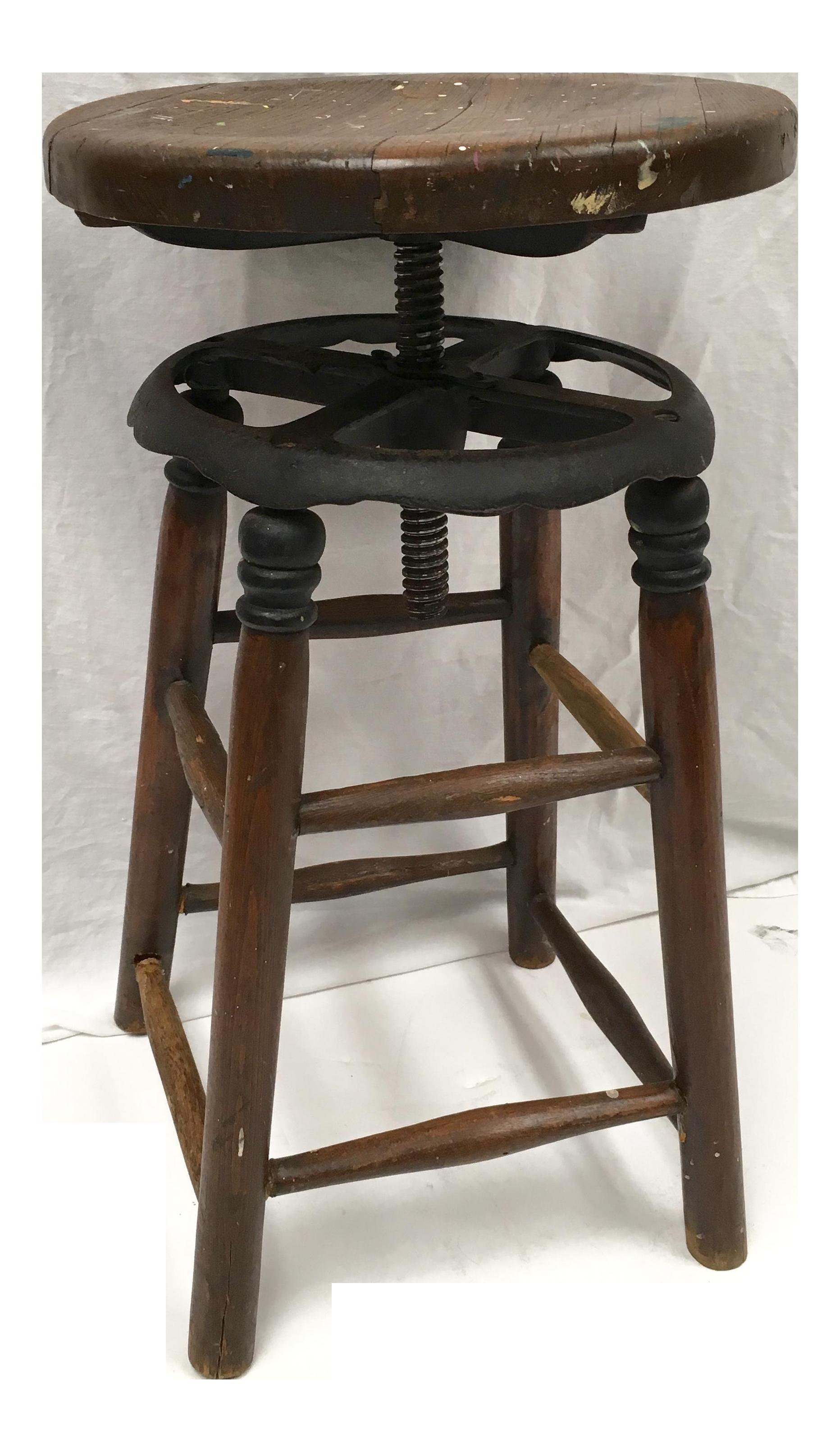 Vintage Industrial Wood u0026 Iron Swivel Painteru0027s Stool - Image ...  sc 1 st  Chairish & Vintage Industrial Wood u0026 Iron Swivel Painteru0027s Stool | Chairish islam-shia.org