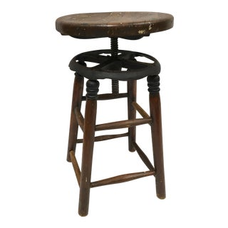 Vintage Industrial Wood & Iron Swivel Painter's Stool