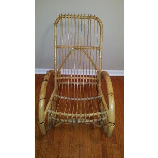 Franco Albini Style Rattan Rocking Chair - Image 3 of 5