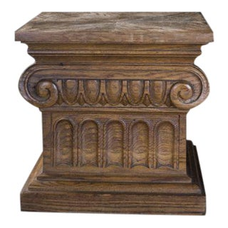 Antique Ionic Capital Wood Table Base or Pedestal
