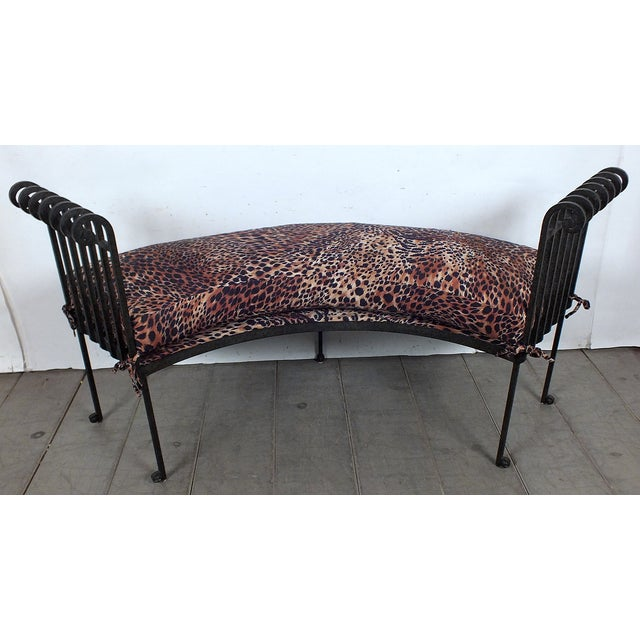 Hammered Iron Upholstered Curved Bench Leopard Chairish