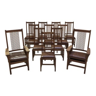 Stickley Mission Style Cherry Wood Dining Chairs - Set of 10