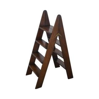 English Mahogany Folding Library Ladder