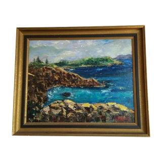 Rocky Coast Mid-Century Oil Painting